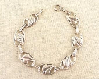 SALE ---- Vintage Danecraft Sterling Open Work Leaf Links Bracelet