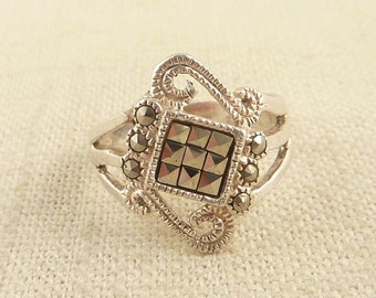 SALE --- Size 8 Vintage Sterling Art Deco Style Marcasite Ring