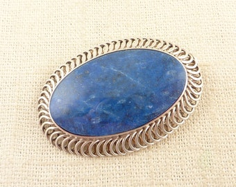 SALE --- Vintage .950 Silver Large Oblong Lapis Lazuli Brooch