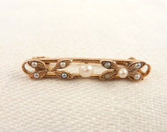 Antique 14K Gold Seed Pearl Bar Brooch