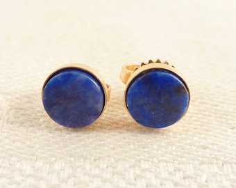 Vintage 14K Gold Simple Round Lapis Inlay Modernist Stud Earrings