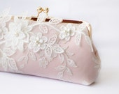 Bridal Clutch with Magnolia Flower Vine Lace in Blush Pink and Rose Gold 8-inches