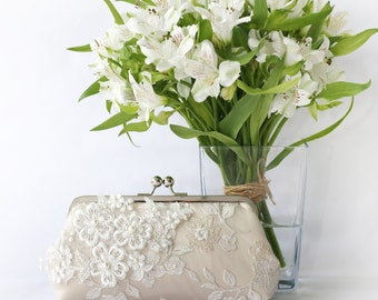 Bridal Clutch with Pearl Sakura Flower Vine Lace in Champagne and Ivory 8-inches