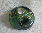 """11/16"""" Black Glass Moonglow Dragonfly Button with Gold Luster and Rhinestone"""