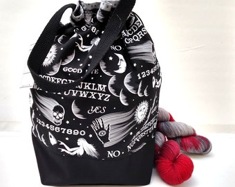 Large Knitting Project Bag Crochet Drawstring Tote WIP Bag - Wicked Ouija