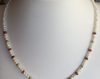 Necklace — Faceted Ruby Briolette, Freshwater Pearls, Rubies
