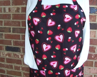 Plus Size Apron. Valentine's Day Apron, Pocket Apron, Kitchen Apron, Bib Apron, Heart Apron, Hostess Gift, Shower Apron, Aprons, Black Apron
