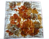 SALE*Vintage 'Richard Allan' pure silk scarf c1970's Autumn/Fall English womens fashion accessory Country house headscarf PERFECT Brown Rust