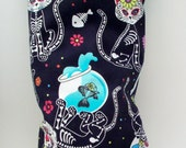"""Sugar Skull Skeleton Cats Catnip Toy Pillow Wrestler - Day of the Dead Kitty Kick Stick - Gifts for Cats - 11"""" X 4 3/4"""""""