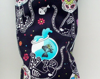 "Sugar Skull Skeleton Cats Catnip Toy Pillow Wrestler - Day of the Dead Kitty Kick Stick - Gifts for Cats - 11"" X 4 3/4"""