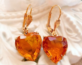 Best November Birthstone Gift - Topaz - Heart Earrings - Victorian Earrings - HEARTSONG Topaz