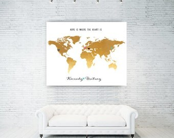 50th anniversary, Romantic Gift for Wife, gift for husband birthday gift for wife 40th birthday 35th birthday 30th birthday World Map 30x40