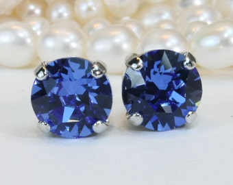 Royal Blue Stud Earrings,Sapphire Blue Studs Royal Blue Swarovski Crystal 8mm studs,Royal Blue wedding Bridesmaids Gift ,Silver,Sapphire,SE1