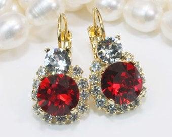 Red Crystal Earrings Ruby Red earrings Red Gold Red Earring Red Swarovski Deep Red Drop Earring Red Wedding red bridesmaids,Light Siam,GE108