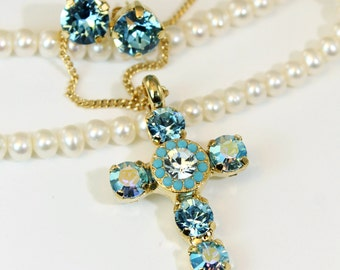 Turquoise Cross Necklace Aqua Blue Crystal Cross Pendant Necklace Aquamarine Swarovski Crystal rhinestones Gold finish,TURQUOISE SKY GN32