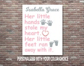 Personalized Baby Girl Gift, Baby Shower Gift, Baby Girl Gift,DIGITAL DOWNLOAD, Newborn Baby Girl Gift, Girl Nursery Art, Nursery Art Decor