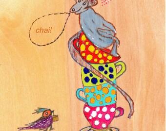 Animal Illustration, Year of the Monkey, Tea Art, Wood Art, Mail Art, Monkey in Tea Cups, Whimsical Art, Humorous Art