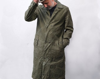 Men's Military Style Army Green Weatherproof Coat From Reclaimed Cotton Drill US Army tent Jacket. Minimalist mens fashion clothing.