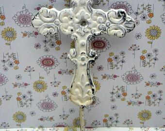 Cross Hook White Ornate Swirled Shabby Style Chic Distressed Cast Iron Wall Coat Leash Hat Towel Scarf Jewelry Keys One Hook Home Decor