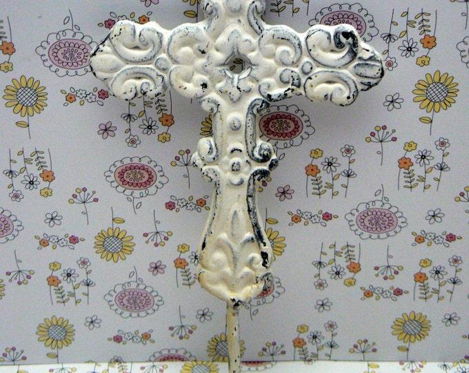 Cross Hook White Ornate Swirled Shabby Elegance Distressed Cast Iron Wall Coat Leash Hat Towel Scarf Jewelry Keys One Hook Home Decor