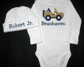 Custom Personalized Applique JEEP and NAME Bodysuit and Hat Set - Navy Blue, Tan, and Brown