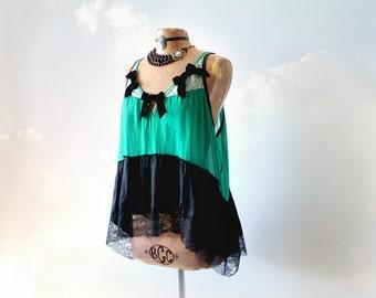 100% Silk Blouse Emerald Green Loose Tank Top Black Velvet Bows Bohemian Clothing Vintage Style Evening Top Shabby Boho Shirt XL 1X 'MONICA