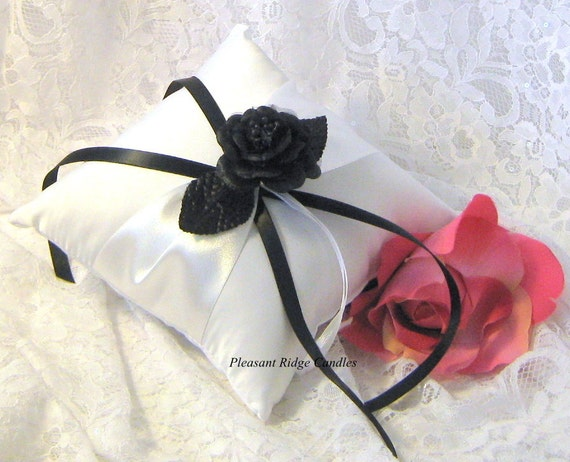 Black Ring Bearer Pillow Romantic Wedding Pillow Satin Ring Bearer Pillow Cheap Ring Bearer Pillow Rose, Ribbon & Pillow Color Choice