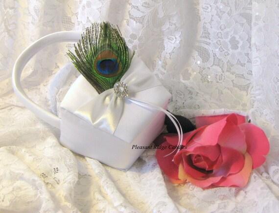 Flower Girl Baskets Peacock : Peacock feather flower girl basket white