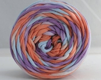 Hand Dyed T Shirt Yarn 60 Yards- Lilac/Coral/Light Blue