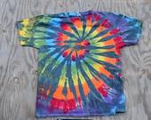 Rainbow on Dark Grey Skies  Tie Dye Tshirt (Gildan Heavy Cotton Size L)(One of a Kind)