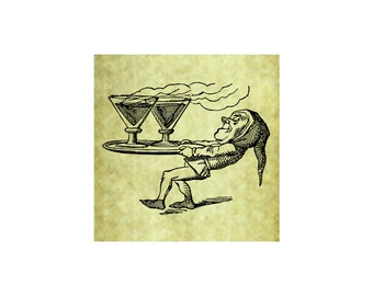 COCKTAIL ELF Rubber Stamp~Elf with Drinks~Party~Birthday~Halloween~Christmas~St Patrick's Day~Gnome~Irish~Brew~Beer~ Cling Stamp (53-01)
