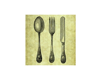 TABLEWARE RUBBER STAMP~Fork Knife Spoon~Silverware~Table Setting~Vintage~Antique~Home Decor~Dinner Invitation~Thank you~ Cling Stamp (53-03)