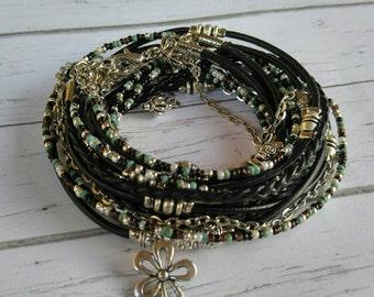 Custom Wrap Bracelet - Multistrand Bracelet - Braided Leather Bracelet - Free Spirit Style - Best Friend Gift - Choose One Charm
