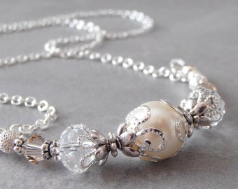 Ivory Bridal Necklace, Pearl and Crystal Necklace, Unique Bridal Jewelry, Wedding Sets, Bridesmaid Gift, Swarovski Crystallized Elements