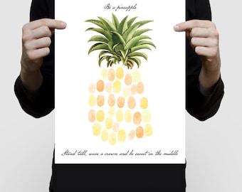pineapple fingerprint guest book girls baby shower or birthday print - tropical fruit illustration, inspirational saying, summer nursery art
