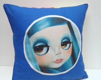 Blythe Doll Pillow cover Big Eyed Art blue hair