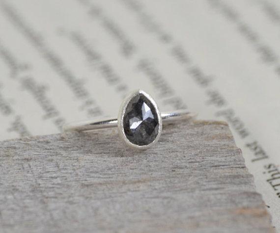 grey diamond engagement ring rose cut pear shape fancy color