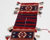 Vintage KILIM Saddle Bag TURKISH Wool Saddle Bag Woven TRIBAL Boho Kilim Bag with Glass Beads & Tassel Fringe Ethnic Decor