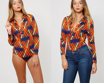 Vintage 70s Mod Bodysuit GRAPHIC Leotard Printed Bodysuit  HIPSTER Abstract Print Top Skinny Fit Top