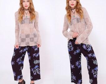 Vintage 90s FLORAL Drawstring Pants Rayon Tropical Print CROPPED Pants INDIE Hipster Pants Batik Beach Pants