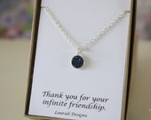 Tiny Blue Druzy Necklace, Crystal Necklace, Thin Druzy Pendant, Sterling Silver, Dark Blue Pendant, Natural, Natural Stone