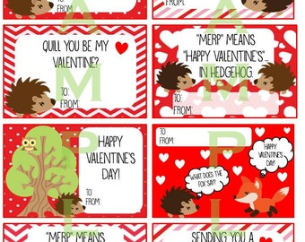 Printable Hedgehog Valentine's Cards