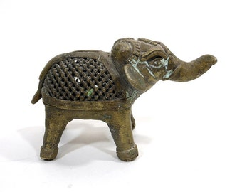 Vintage Brass Elephant | Small Elephant Paperweight | Desk Accessory | Home Decor Accent | Metal Elephant | Mini Pachyderm | Jungle Animal