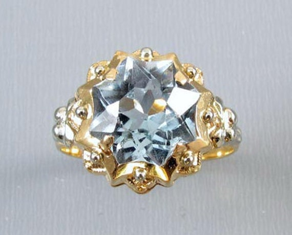 Vintage Retro Moderne European made 18K gold lab created synthetic blue spinel fancy concave star cut ring size 7.5