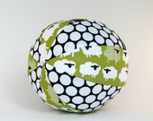 Soft Rattle Ball - Sheep in a Green Meadow - Organic Baby Toddler Toy - Ready to Ship