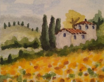 ACEO Original watercolor painting - Tuscany