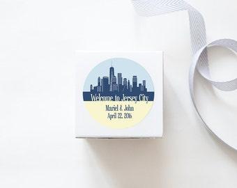 Jersey City, NJ Custom Wedding Welcome Stickers  -  SKYLINE DESIGN