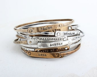 Personalized Bangle Bracelet in Sterling Silver or Gold Bronze. Mother's Bracelet with Stamped Names.  Design your own Name Bracelet!