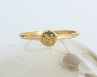 Gold Initial Ring. One Stackable Initial Ring in 24K Gold Vermeil. Stack initial rings to create your own ring!