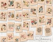 Vintage Alphabet Cards digital scrapbooking graphics / ephemera / clipart / altered art / mixed media collage / instant download / printable
